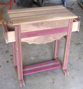 Drop leaf made from Claro Walnut and Purple Heart,(unfinished).