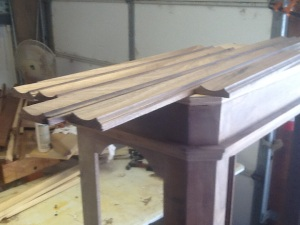 Finished walnut molding